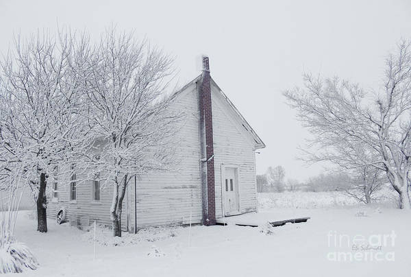 Photograph - Foster Schoolhouse In The Winter by E B Schmidt
