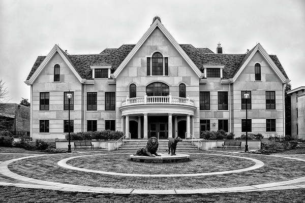Photograph - Founders Hall - Widener University In Black And White by Bill Cannon