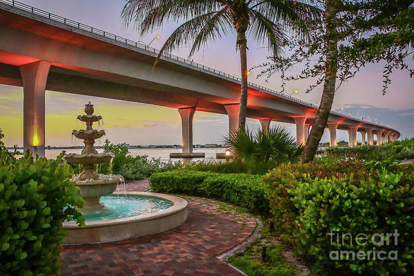 Photograph - Fountain And Bridge by Tom Claud