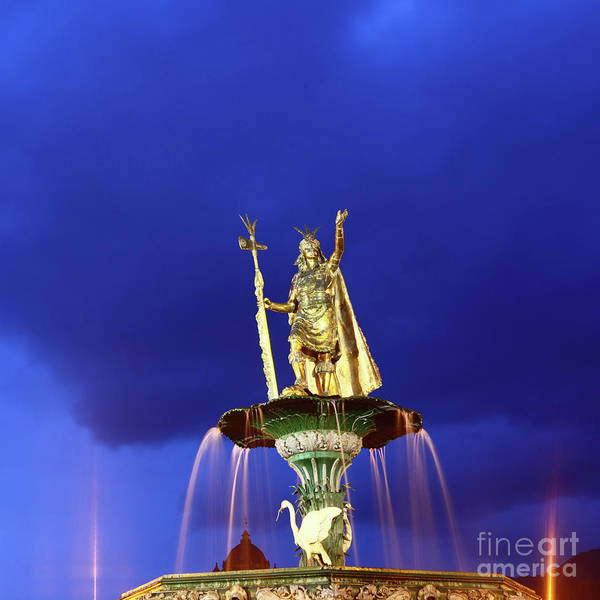 Photograph - Fountain And Statue Of The Inca Pachacutec Cuzco Peru by James Brunker