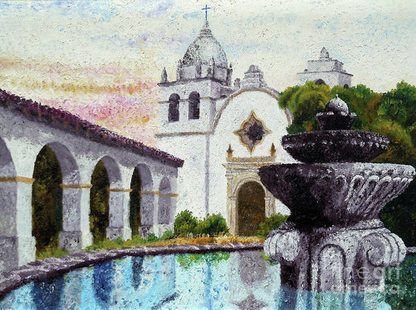 Spanish Missions Wall Art - Painting - Fountain At Carmel by Laura Iverson