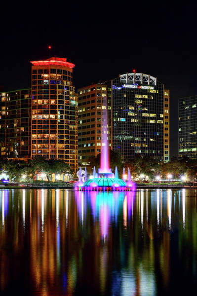 Photograph - Fountain At Lake Eola by Bill Dodsworth