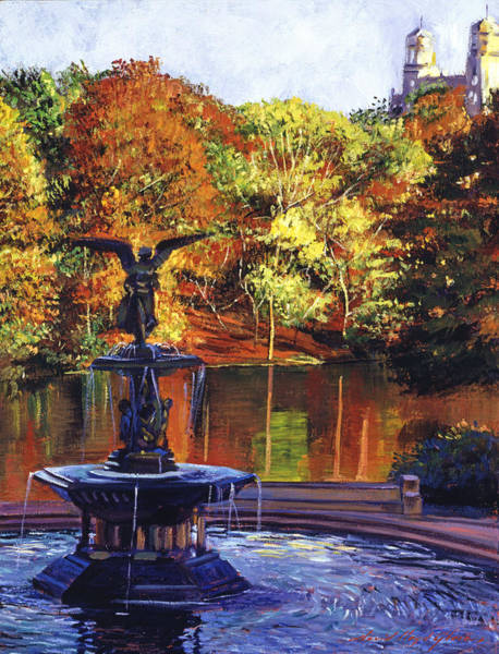 Wall Art - Painting - Fountain Central Park by David Lloyd Glover