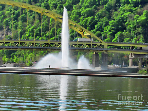 Photograph - Fountain In Pittsburgh by Roberta Byram