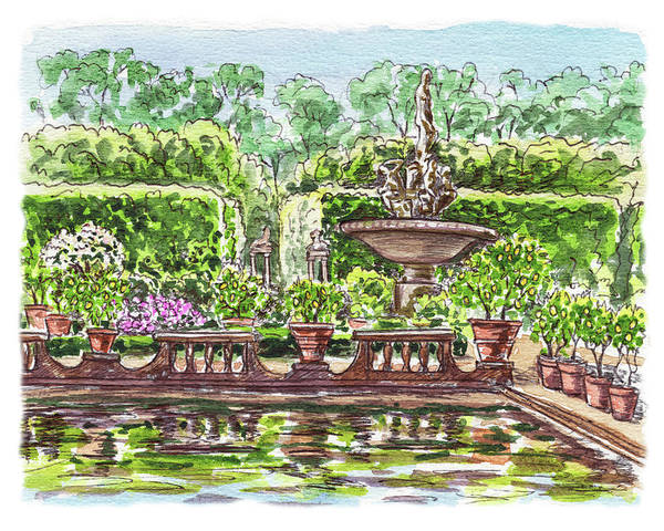 Sketching Painting - Fountain Island Boboli Gardens Florence Italy by Irina Sztukowski