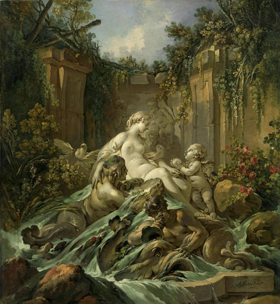 Francois Boucher Painting - Fountain Of Venus by Francois Boucher