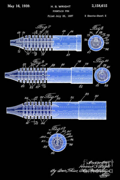 Wall Art - Digital Art - Fountain Pen Patent, Old Art, Year 1939, Black And Blue by Drawspots Illustrations