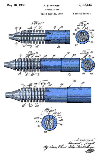 Wall Art - Digital Art - Fountain Pen Patent, Old Art, Year 1939, White And Blue, Mid Century Background by Drawspots Illustrations