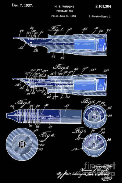 Wall Art - Digital Art - Fountain Pen Patent, Year 1937, Black And Blue by Drawspots Illustrations