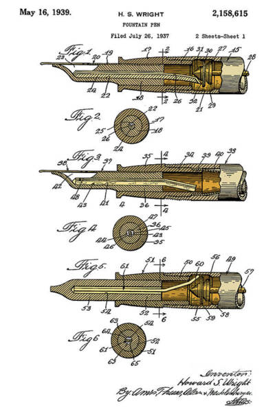 Wall Art - Digital Art - Fountain Pen Patent, Year 1939, Colorful Art, Brown And Yellow by Drawspots Illustrations
