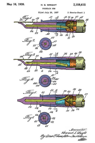 Wall Art - Digital Art - Fountain Pen Patent, Year 1939, Colorful Art by Drawspots Illustrations