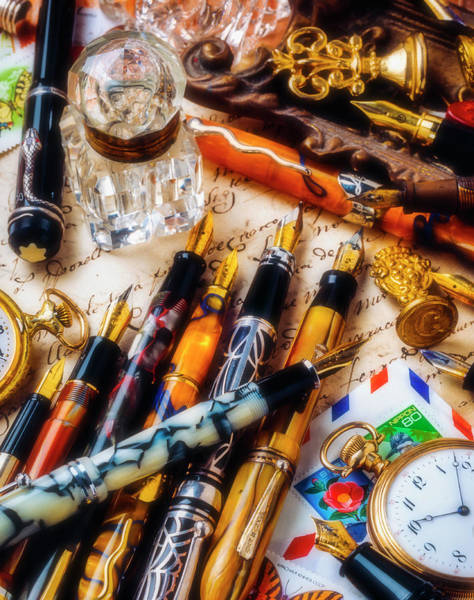 Stamp Collecting Photograph - Fountain Pens With Watch And Wax Seals by Garry Gay