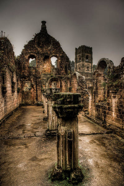 Photograph - Fountains Abbey In Pouring Rain by Dennis Dame