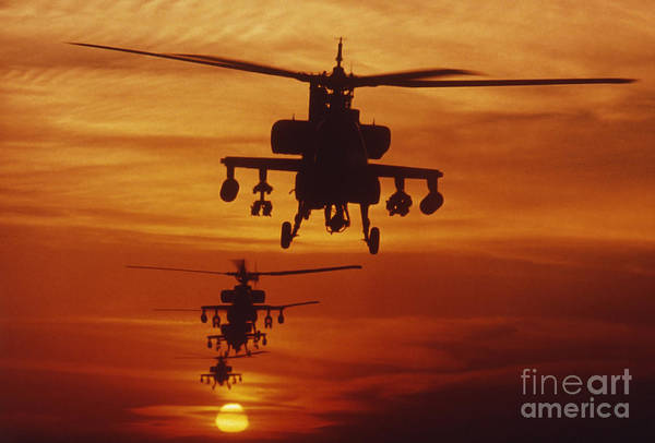 Airborne Photograph - Four Ah-64 Apache Anti-armor by Stocktrek Images