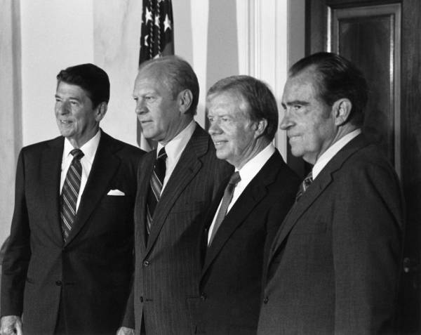 Ronald Reagan Photograph - Four American Presidents Posing Together - 1981 by War Is Hell Store
