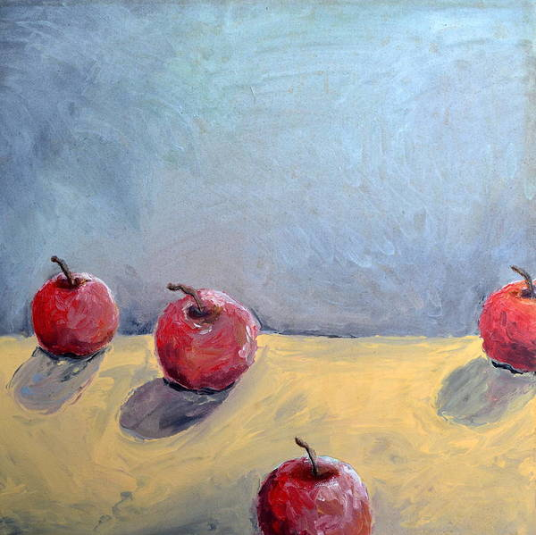 Wall Art - Painting - Four Apples by Michelle Calkins