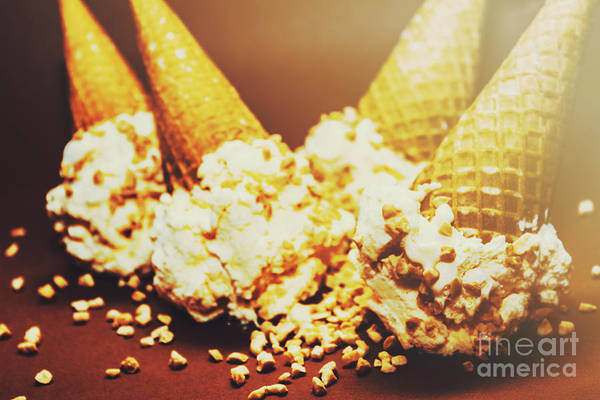 Ice Wall Photograph - Four Artistic Ice-cream Cones by Jorgo Photography - Wall Art Gallery