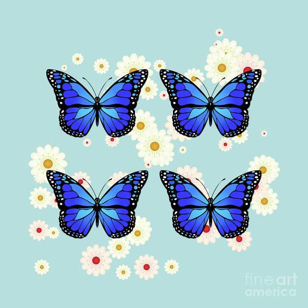 Wall Art - Digital Art - Four Blue Butterflies by Gaspar Avila