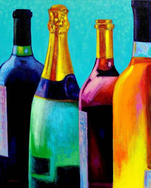 Champagne Painting - Four Bottles by John  Nolan