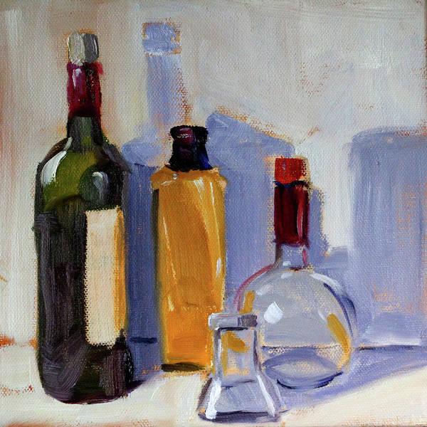 Wall Art - Painting - Four Bottles by Nancy Merkle