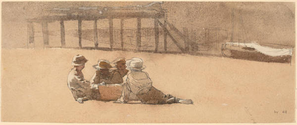 Wall Art - Drawing - Four Boys On A Beach by Winslow Homer