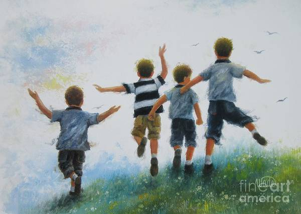Wall Art - Painting - Four Brothers Leaping by Vickie Wade