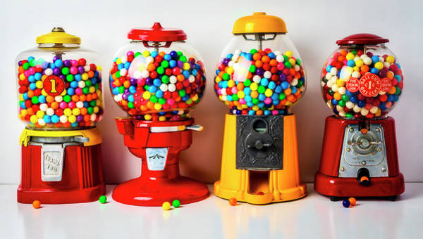 Chewing Photograph - Four Bubblegum Machines by Garry Gay