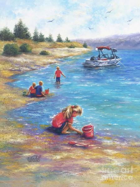 Wall Art - Painting - Four Children At The Lake by Vickie Wade
