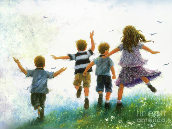 Wall Art - Painting - Four Children Leaping by Vickie Wade
