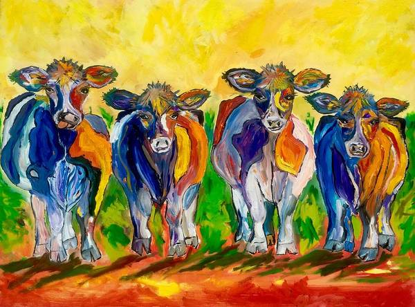 Wall Art - Painting - Four Cows by Julia S Powell