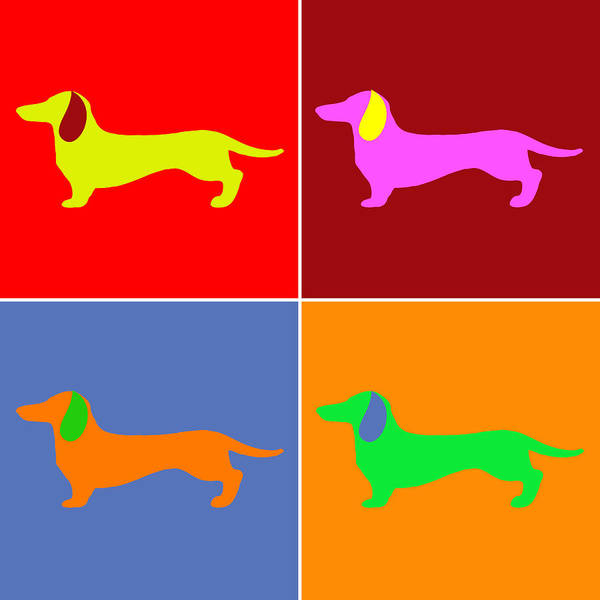 Digital Art - Four Dachshunds by SR Green