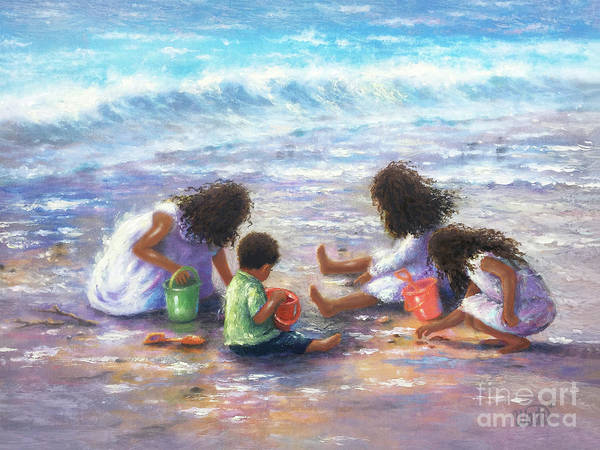 Wall Art - Painting - Four Dark Curly Haired Beach Children by Vickie Wade