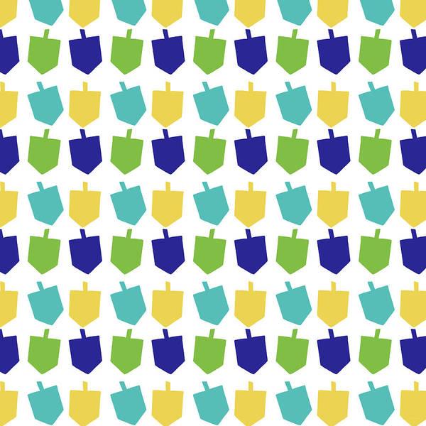 Light Blue Digital Art - Four Dreidels Pattern- Art By Linda Woods by Linda Woods