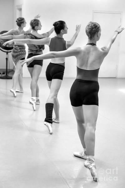 Wall Art - Photograph - Four Female Dancers During A Ballet Rehearsal by Julia Hiebaum