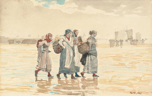 Painting - Four Fishwives On The Beach by Winslow Homer