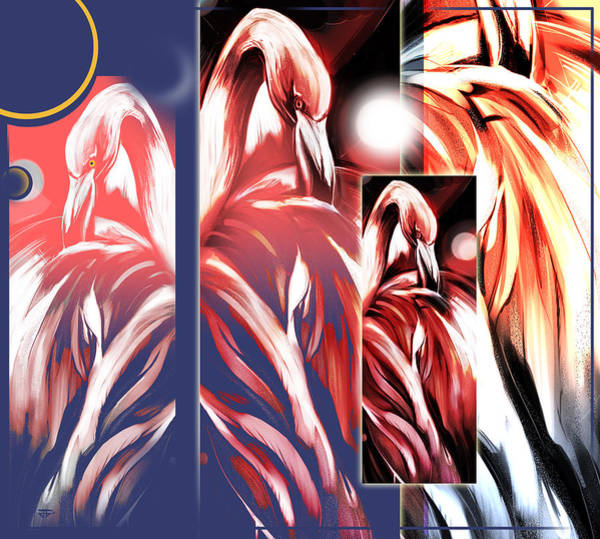 Painting - Four Flamingos by John Jr Gholson