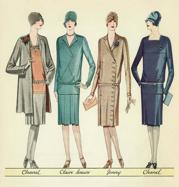 Girly Painting - Four Flappers Modelling French Designer Outfits, 1928 by American School