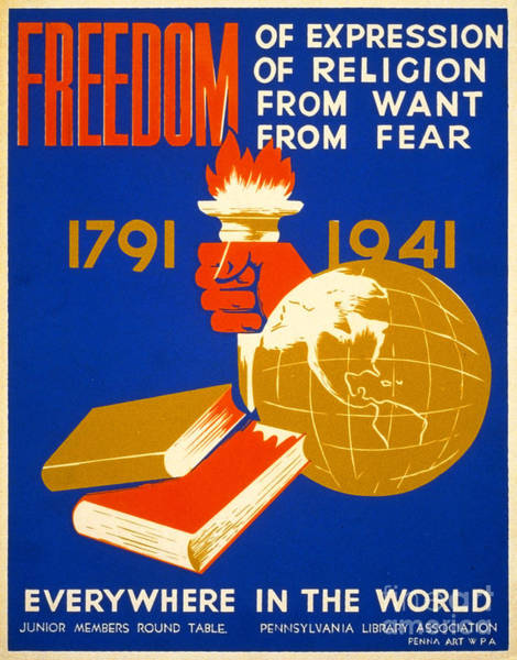 Painting - Four Freedoms, 1941 by Granger