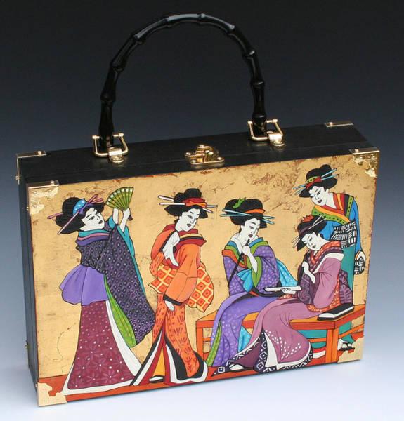 Geisha Mixed Media - Four Geishas Handbag by Denise Meyers