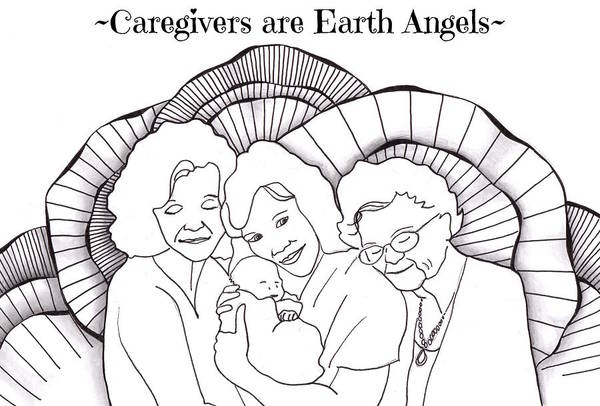 Drawing - Four Generation Hug - Caregivers Are Earth Angels by Jan Steinle