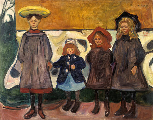 Norwegian Painting - Four Girls In Asgardstrand by Edvard Munch