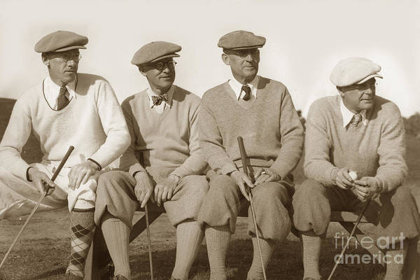 Photograph - Four Golfers On A Bench Circa 1930 by California Views Archives Mr Pat Hathaway Archives