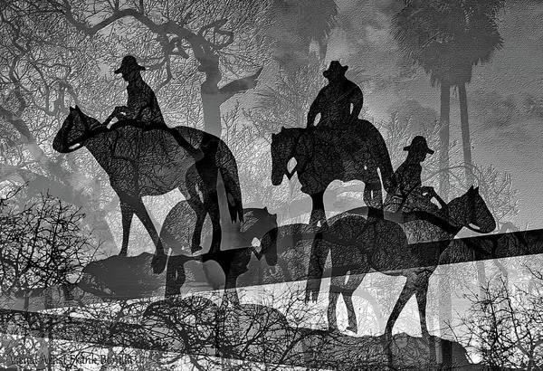 Digital Art - Four Horsemen Black And White by Visual Artist Frank Bonilla