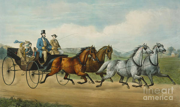 Drive-ins Painting - Four In Hand by Currier and Ives