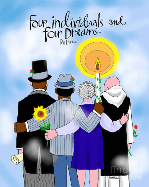 Painting - Four Individuals And Four Dreams - Mmfid by Br Mickey McGrath OSFS