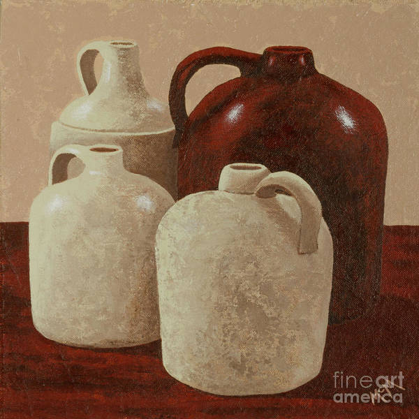 Crock Wall Art - Painting - Four Jugs by Garry McMichael