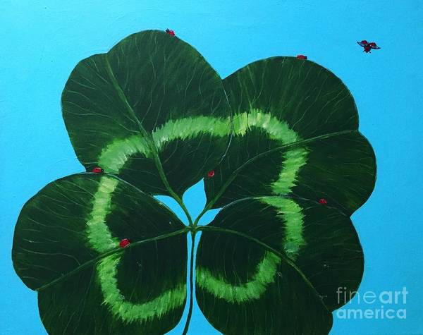 Lucky Clover Painting - Four Leaf Clover And Seven Ladybugs by Barbara Griffin