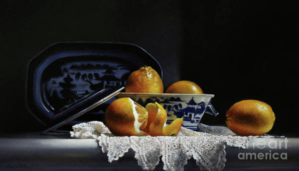 Lace Painting - Four Lemons With Canton by Lawrence Preston