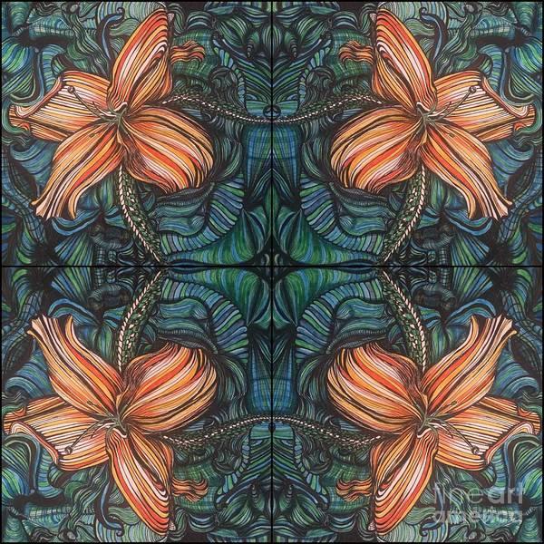 Drawing - Four Lilies Leaf To Leaf by Mastiff Studios