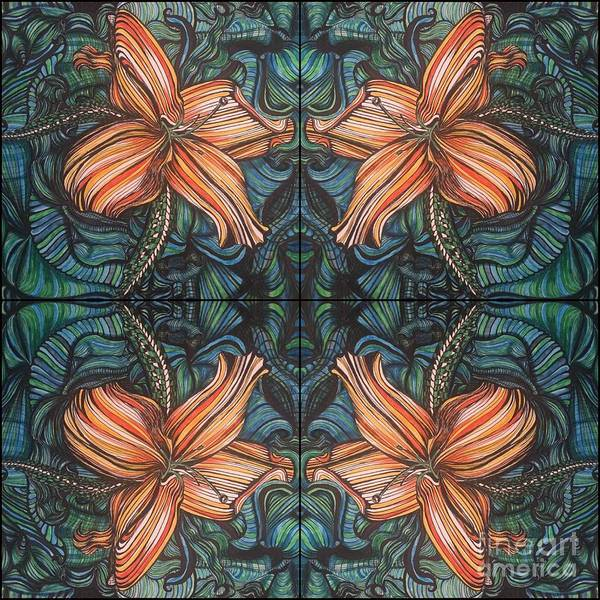 Drawing - Four Lilies Looking In by Mastiff Studios